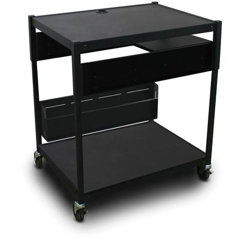 Marvel Spartan Series MVBAEE2432-01 Adjustable Media Projector Cart with 1 Pull-Out Side Shelf (Black)