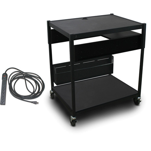 Marvel Spartan Series MVBAEE2432-01E Adjustable Media Projector Cart with 1 Pull-Out Side Shelf & UL Listed 8-Outlet Electrical Unit (Black)