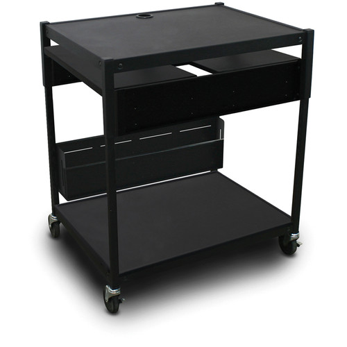 Marvel Spartan Series MVBAEE2432-02 Adjustable Media Projector Cart with 2 Pull-Out Side Shelves (Black)