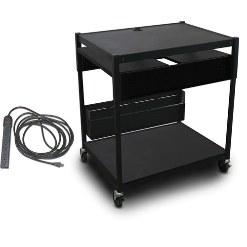 Marvel Spartan Series MVBAEE2432-02E Adjustable Media Projector Cart with 2 Pull-Out Side Shelves & UL Listed 8-Outlet Electrical Unit (Black)