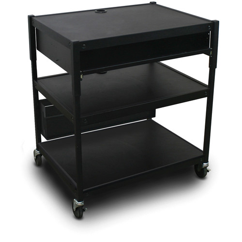 Marvel Spartan Series MVBAEE2432-10 Adjustable Media Projector Cart with 1 Pull-Out Front Shelf (Black)