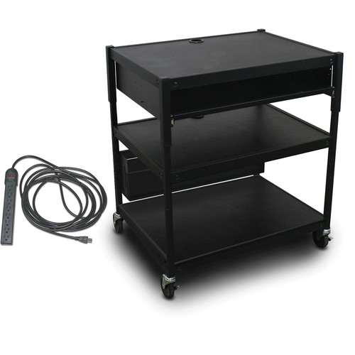 Marvel Spartan Series MVBAEE2432-10E Adjustable Media Projector Cart with 1 Pull-Out Front Shelf & UL Listed 8-Outlet Electrical Unit (Black)