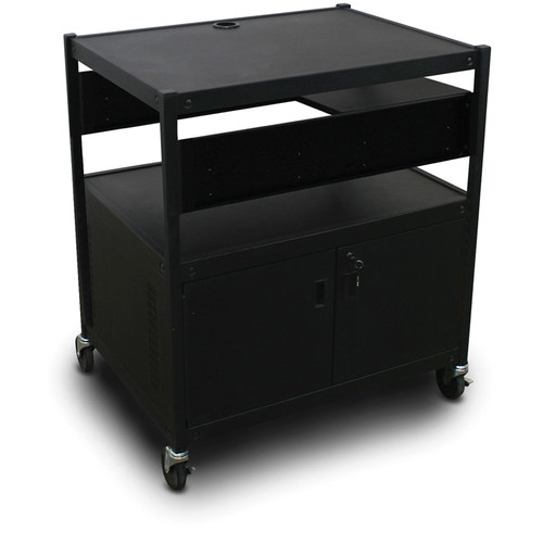 Marvel Spartan Series MVBFCE2432-01 Adjustable Media Projector Cart with Cabinet and 1 Pull-Out Side Shelf (Black)