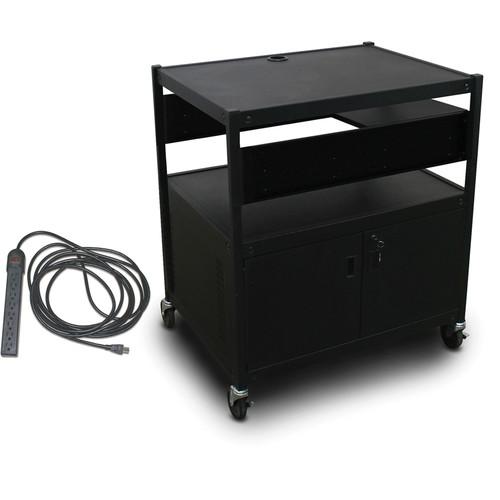 Marvel Spartan Series MVBFCE2432-01E Adjustable Media Projector Cart with Cabinet, 1 Pull-Out Side Shelf, & UL Listed 8-Outlet Electrical Unit (Black)