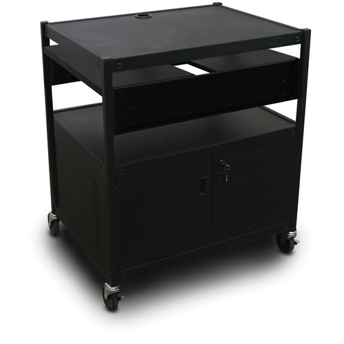 Marvel Spartan Series MVBFCE2432-02 Adjustable Media Projector Cart with Cabinet and 2 Pull-Out Side Shelf (Black)
