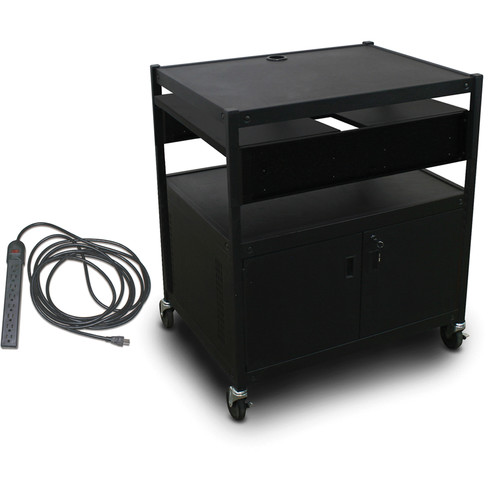 Marvel Spartan Series MVBFCE2432-02E Adjustable Media Projector Cart with Cabinet, 2 Pull-Out Side Shelves, & UL Listed 8-Outlet Electrical Unit (Black)