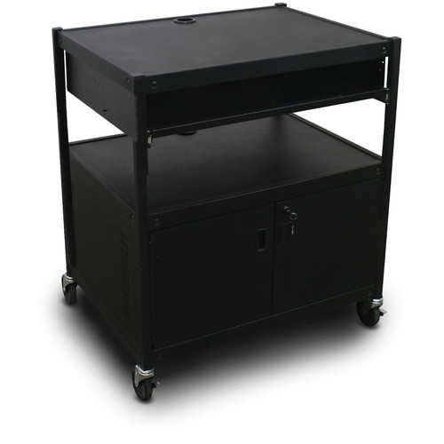 Marvel Spartan Series MVBFCE2432-10 Adjustable Media Projector Cart with Cabinet and 1 Pull-Out Front Shelf (Black)