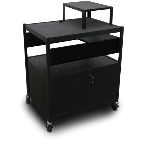 Marvel Spartan Series MVBFCS2432-01 Adjustable Media Projector Cart with Cabinet and 1 Pull-Out Side Shelf (Black)