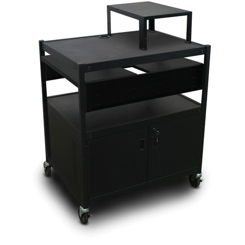 Marvel Spartan Series MVBFCS2432-02 Adjustable Media Projector Cart with Cabinet and 2 Pull-Out Side Shelf (Black)