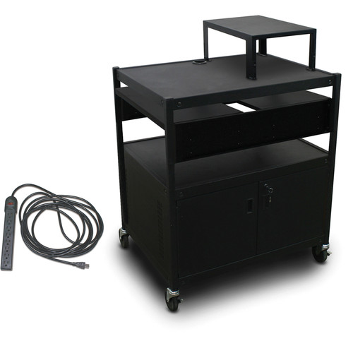 Marvel Spartan Series MVBFCS2432-02E Adjustable Media Projector Cart with Cabinet, 2 Pull-Out Side Shelf, & UL Listed 8-Outlet Electrical Unit (Black)