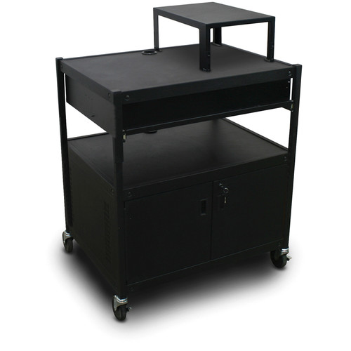 Marvel Spartan Series MVBFCS2432-10 Adjustable Media Projector Cart with Cabinet and 1 Pull-Out Front Shelf (Black)