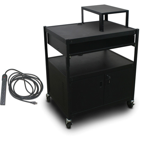 Marvel Spartan Series MVBFCS2432-10E Adjustable Media Projector Cart with Cabinet, 1 Pull-Out Front Shelf, & UL Listed 8-Outlet Electrical Unit (Black)