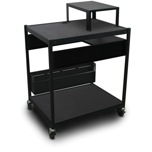 Marvel Spartan Series MVBFES2432-01 Media Projector Cart with 1 Pull-Out Side Shelf, Expansion Shelf, and Bin (Black)