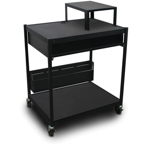 Marvel Spartan Series MVBFES2432-10 Media Projector Cart with 1 Pull-Out Front Shelf, Expansion Shelf, and Bin (Black)