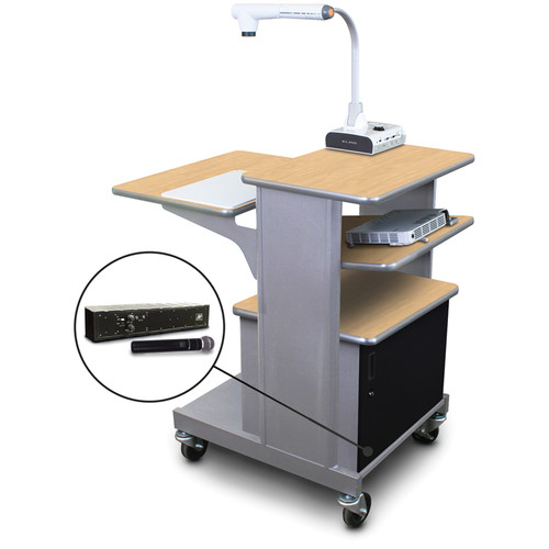 Marvel Vizion MVPSA2432KMST-TH Benchmark Mobile Presentation Cart with Acrylic Doors, Tilting Shelf, and AmpliVox Handheld Microphone (Kensington Maple Laminate)