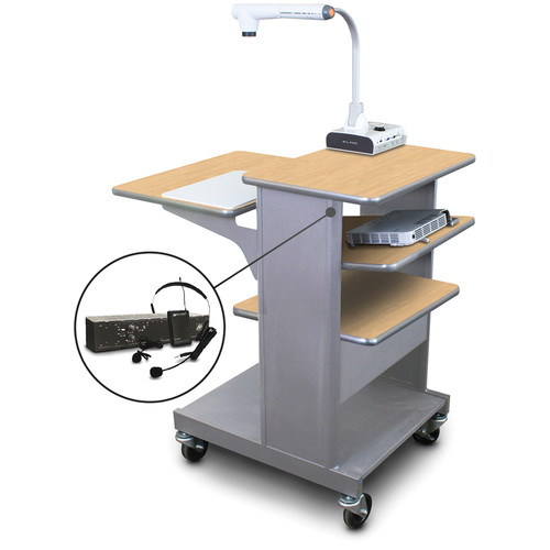 Marvel Vizion MVPSE2432KMST-TE Benchmark Mobile Presentation Cart with Tilting Shelf, and AmpliVox Earpiece Microphone (Kensington Maple Laminate)