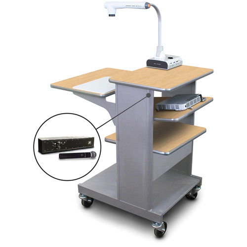 Marvel Vizion MVPSE2432KMST-TH Benchmark Mobile Presentation Cart with Tilting Shelf, and AmpliVox Handheld Microphone (Kensington Maple Laminate)