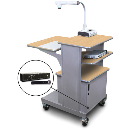 Marvel Vizion MVPSM2432KMST-TH Benchmark Mobile Presentation Cart with Steel Doors, Tilting Shelf, and AmpliVox Handheld Microphone (Kensington Maple Laminate)