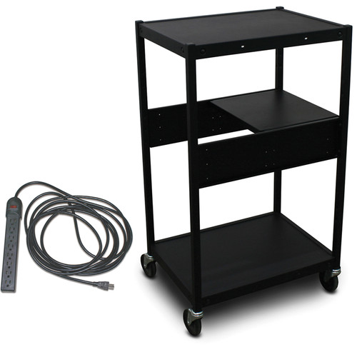 Marvel Vizion Spartan Series MVBFEE2418-01E Classroom Media Projector Cart with 1 Pull-Out Side Shelf and UL Listed 8-Outlet Electrical Unit (Black)