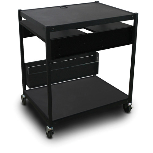 Marvel Vizion Spartan Series MVBFEE2432-02 Media Projector Cart with 2 Pull-Out Side Shelves & Bin (Black)