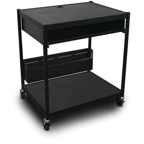 Marvel Vizion Spartan Series MVBFEE2432-10 Media Projector Cart with 1 Pull-Out Front Shelf & Bin (Black)