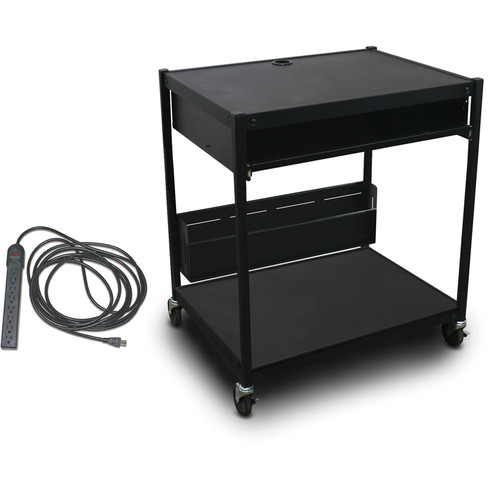 Marvel Vizion Spartan Series MVBFEE2432-10E Media Projector Cart with 1 Pull-Out Front-Shelf, 8-Outlet Electrical Unit, & Bin (Black)
