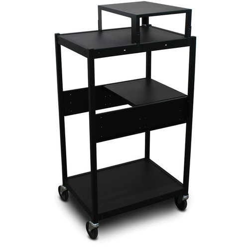 Marvel Vizion Spartan Series MVBFES2418-01 Classroom Media Projector Cart with 1 Pull-Out Side Shelf & Expansion Shelf (Black)