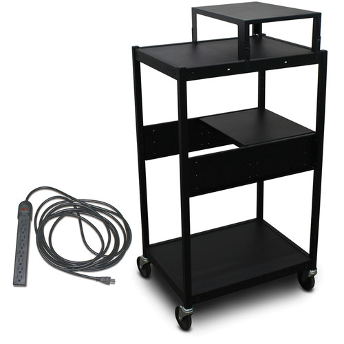 Marvel Vizion Spartan Series MVBFES2418-01E Classroom Media Projector Cart with 1 Pull-Out Side Shelf, Expansion Shelf, & UL Listed 8-Outlet Electrical Unit (Black)