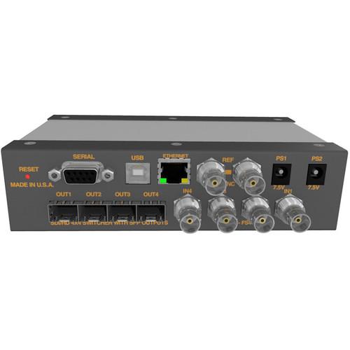 Matrix Switch 4 BNC Input 4 SFP Output 3G-SDI Mini Switcher With Button Panel (Fiber Or Other SFP Modules Not Incl