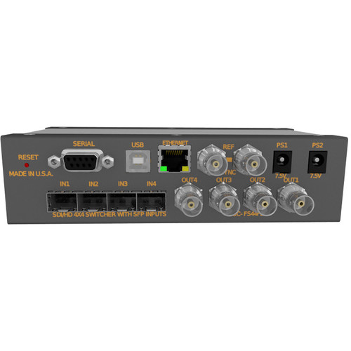 Matrix Switch 4 SFP Input 4 BNC Output 3G-SDI Mini Switcher With Button Panel (Fiber Or Other SFP Modules Not Incl