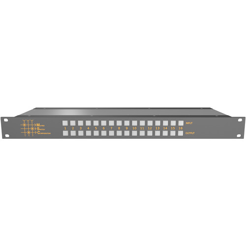 Matrix Switch 16 x 16 Composite Analog Video Router with Button Panel (1 RU)