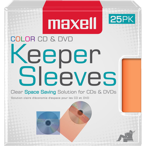 Maxell CD & DVD Keeper Sleeves (Multi-Color, 50-Pack)