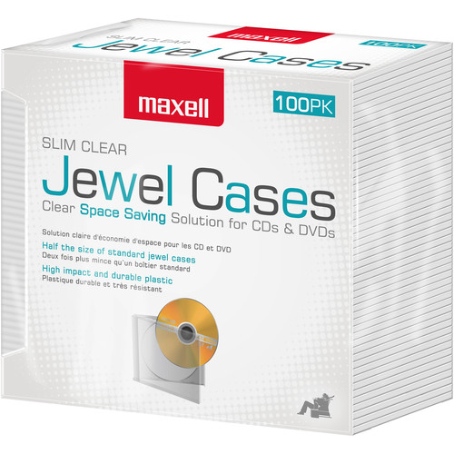 Maxell Slim CD Jewel Case (Clear, 100-Pack)