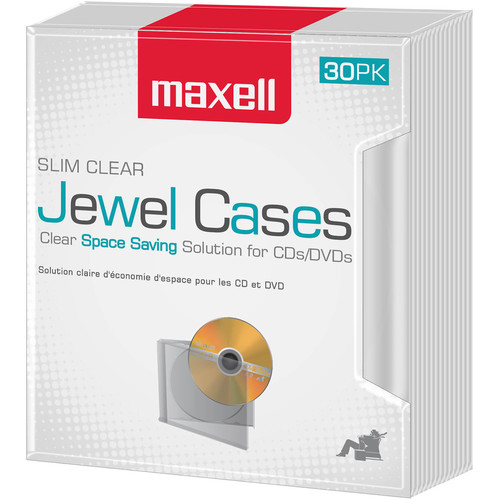 Maxell Slim CD Jewel Case (Clear, 30-Pack)