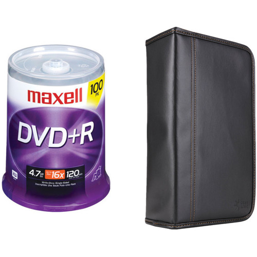 Maxell 4.7GB DVD+R 16x Write-Once Recordable Disc Kit with 100-Capacity Disc Wallet