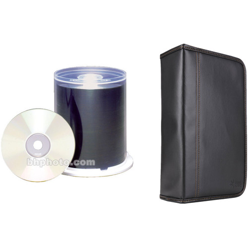 Maxell CD-R 700MB White Inkjet Printable Disc Kit with 100-Capacity Disc Wallet