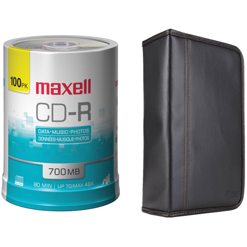 Maxell CD-R 700MB Write-Once Recordable 48x Disc Kit with 100-Capacity Disc Wallet