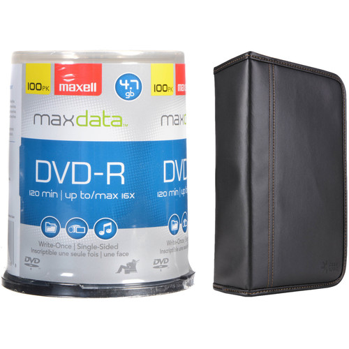 Maxell DVD-R 4.7GB Write-Once, 16x Recordable Disc Kit with 100-Capacity Disc Wallet