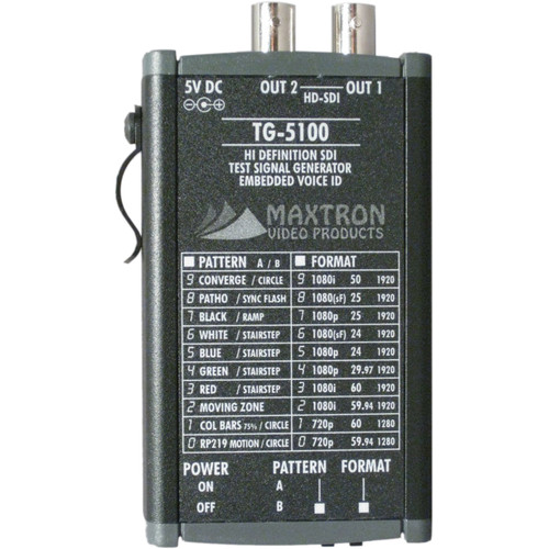 Maxtron TG-5100B Multi-Format HD-SDI Pattern Generator with Internal Lithium-Ion Battery