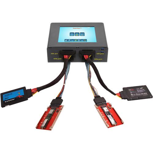 "MediaClone SuperWiper Portable 8"" 2-SATA/2 NVMe SFF-8639 Ports Fast Drive Eraser"