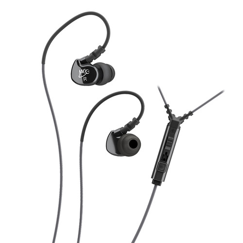 MEE audio Sport-Fi M6P Memory Wire In-Ear Headphones with In-Line Mic Remote Control (Black)