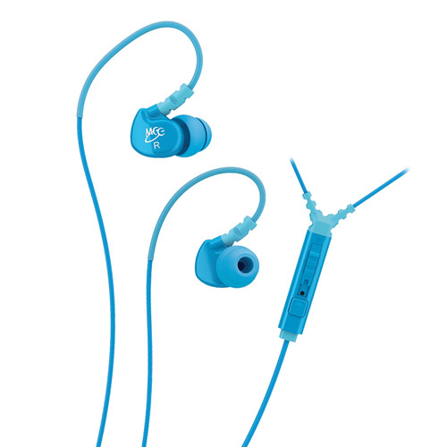 MEE audio Sport-Fi M6P Memory Wire In-Ear Headphones with In-Line Mic Remote Control (Teal)