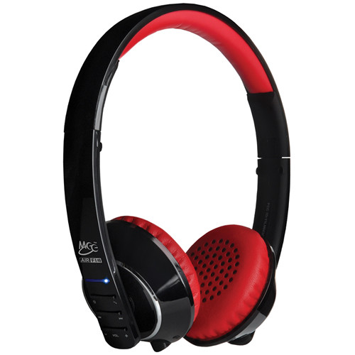 MEElectronics Air-Fi Runaway AF32 Stereo Bluetooth Wireless Headphones with Hidden Microphone (Black and Red)