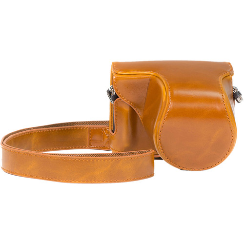 MegaGear Ever Ready PU Leather Case and Strap for Panasonic LUMIX DMC-GM1 with 12-32mm Lens (Light Brown)