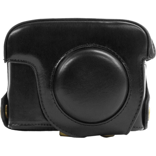 MegaGear PU Leather Camera Case and Strap for Canon PowerShot G16 (Black)