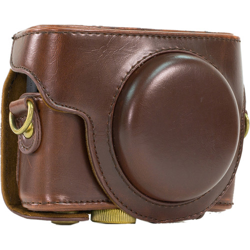 MegaGear Ever Ready PU Leather Camera Case and Strap for Sony Cyber-shot DSC-RX100 VI, V, IV, III (Dark Brown)