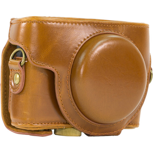 MegaGear Ever Ready PU Leather Camera Case and Strap for Sony Cyber-shot DSC-RX100 VI, V, IV, III (Light Brown)