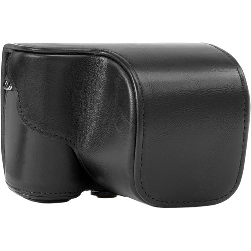 MegaGear Ever Ready PU Leather Case and Strap for Sony Alpha a5100, a5000 with 16-50mm Lens (Black)