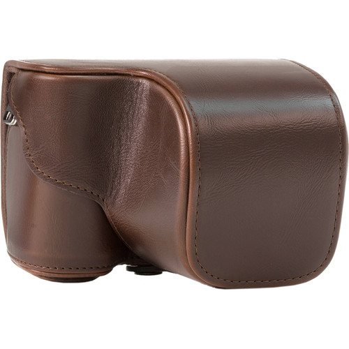 MegaGear Ever Ready PU Leather Case and Strap for Sony Alpha a5100, a5000 with 16-50mm Lens (Dark Brown)