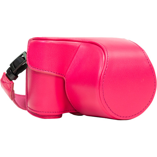 MegaGear Ever Ready PU Leather Case and Strap for Sony Alpha a5100, a5000 with 16-50mm Lens (Hot Pink)